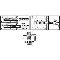 Diall Mushroom Hammer fixing (L)80mm (Dia)6mm, Pack of 20