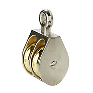Diall Nickel & zinc-plated Grey & yellow Double wheel Pulley, (Dia)24mm