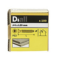 Diall PZ Double-countersunk Yellow-passivated Steel Wood screw (Dia)4mm (L)20mm, Pack of 100