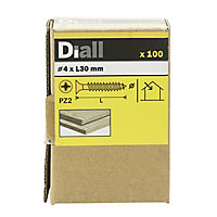 Diall PZ Double-countersunk Yellow-passivated Steel Wood screw (Dia)4mm (L)30mm, Pack of 100