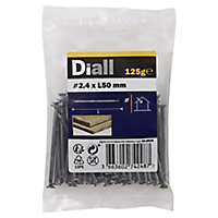 Diall Round wire nail (L)50mm (Dia)2.4mm 125g, Pack