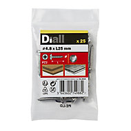Diall Stainless steel Metal Screw (Dia)4.8mm (L)25mm, Pack of 25