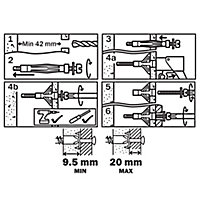 Diall Steel Hollow wall anchor (L)59mm, Pack of 4