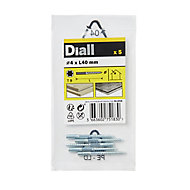 Diall Yellow zinc-plated Carbon steel Dowel screw (Dia)4mm (L)40mm, Pack of 5