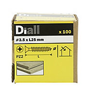 Diall Yellow zinc-plated Carbon steel Wood Screw (Dia)3.5mm (L)25mm, Pack of 100