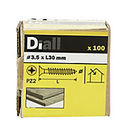 Diall Yellow zinc-plated Carbon steel Wood Screw (Dia)3.5mm (L)30mm, Pack of 100