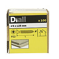 Diall Yellow zinc-plated Carbon steel Wood Screw (Dia)4mm (L)25mm, Pack of 100