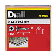 Diall Zinc-plated Carbon steel Metal Screw (Dia)3.5mm (L)9.5mm, Pack of 200