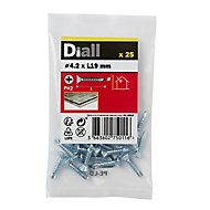 Diall Zinc-plated Carbon steel Metal Screw (Dia)4.2mm (L)19mm, Pack of 25