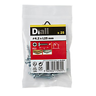 Diall Zinc-plated Carbon steel Metal Screw (Dia)4.2mm (L)25mm, Pack of 25