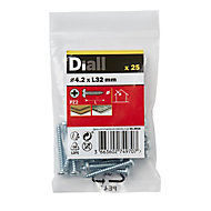 Diall Zinc-plated Carbon steel Metal Screw (Dia)4.2mm (L)32mm, Pack of 25