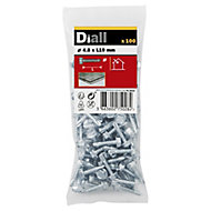 Diall Zinc-plated Carbon steel Metal Screw (Dia)4.8mm (L)19mm, Pack of 100