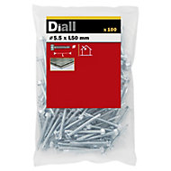 Diall Zinc-plated Carbon steel Metal Screw (Dia)5.5mm (L)50mm, Pack of 100