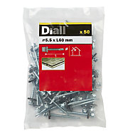 Diall Zinc-plated Carbon steel Roofing screw (L)60mm, Pack of 50