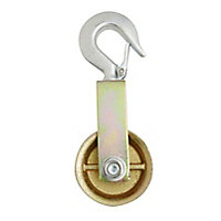 Diall Zinc-plated Yellow & zinc-plated Single wheel Pulley, (Dia)80mm