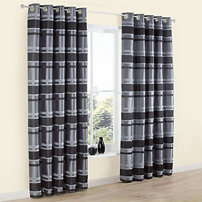 Dill Black Grey Striped Lined Eyelet, Grey Striped Curtains