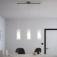 Dimonika White Chrome effect 3 Lamp Pendant ceiling light