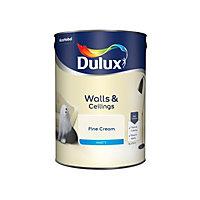 Dulux Fine cream Matt Emulsion paint, 5L