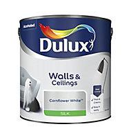 Dulux Natural hints Cornflower white Silk Emulsion paint, 2.5L