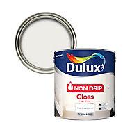 Dulux Non-drip Pure brilliant white Gloss Metal & wood paint, 2.5L