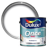 Dulux Once Pure brilliant white Gloss Metal & wood paint, 2.5L