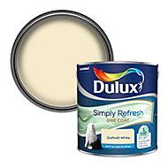 Dulux One coat Daffodil white Matt Emulsion paint, 2.5L