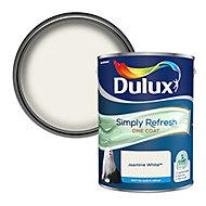 Dulux One coat Jasmine white Matt Emulsion paint, 5L