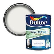 Dulux One coat Pure brilliant white Matt Emulsion paint, 5L
