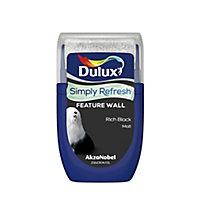 Dulux One coat Rich black Matt Emulsion paint, 30ml Tester pot