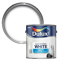 Dulux Pure brilliant white Matt Emulsion paint, 2.5L