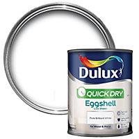 Dulux Quick dry Pure brilliant white Eggshell Metal & wood paint, 0.75L