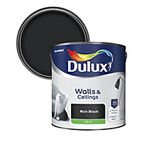 Dulux Rich black Silk Emulsion paint, 2.5L