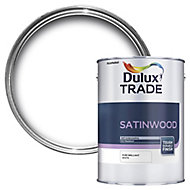 Dulux Trade Brilliant white Satinwood Multi-surface paint, 5L