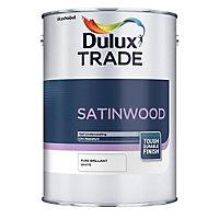 Dulux Trade Brilliant white Satinwood Multi-surface paint, 5L
