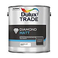 Dulux Trade Diamond Pure brilliant white Matt Emulsion paint, 2.5L
