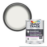 Dulux Trade Diamond Pure brilliant white Satinwood Metal & wood paint, 1L