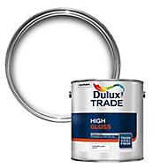 Dulux Trade Pure brilliant white High gloss Metal & wood paint, 2.5L