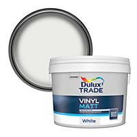 Dulux Trade White Vinyl matt Emulsion paint, 10L