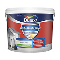 Dulux Weathershield All weather protection Jasmine white Smooth Matt Masonry paint, 10L