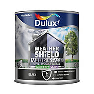 Dulux Weathershield Black Satin Multi-surface paint, 2.5L