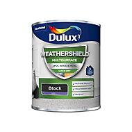 Dulux Weathershield Black Satin Multi-surface paint, 750ml