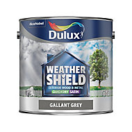 Dulux Weathershield Gallant grey Satin Metal & wood paint, 2.5