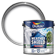 Dulux Weathershield Pure brilliant white Gloss Metal & wood paint, 2.5L