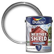Dulux Weathershield Pure brilliant white Masonry paint, 5L