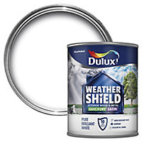 Dulux Weathershield Pure brilliant white Satin Metal & wood paint, 0.75L