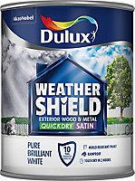 Dulux Weathershield Pure brilliant white Satin Metal & wood paint, 750ml
