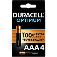 Duracell Optimum Non-rechargeable AAA Battery, Pack of 4
