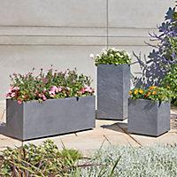 Durdica Dark grey Plastic Rectangular Trough 100cm