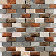 Dylan Grey & copper effect Brick Glass & stone Mosaic tile, (L)295mm (W)297mm