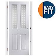 Easy fit 4 panel Patterned Frosted Glazed Pre-painted White Adjustable Internal Door & frame set, (H)1988mm-1996mm (W)759mm-771mm